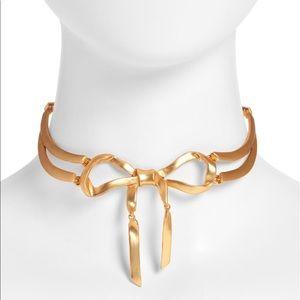 Oscar de la Renta gold bow choker necklace